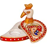 Little India Kundan Work Marble Peacock Roli Sindoor Vase (10.16 cm x 7.62 cm,HCF279)