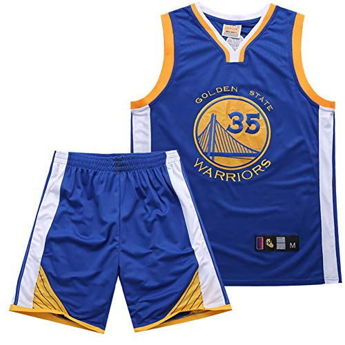 Summer Embroidered Jersey Suit for: Warrior 35 Basketball Uniform, Unisex, Quick-Drying, Breathable, Comfortable-Blue-M