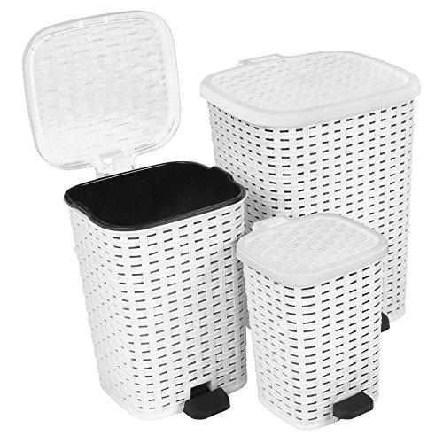 UPC 810541103098, Rattan (Wicker Style) Trash Can - 3 Size Set - 1.6 Gal. / 3.1 Gal. / 6.8 Gal. (White)