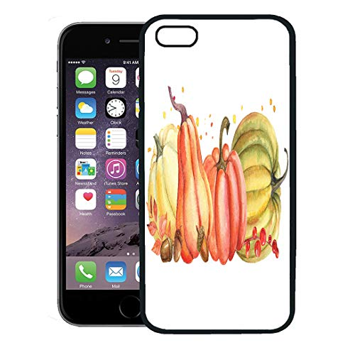 Semtomn Phone Case for iPhone 8 Plus case Cover,Green Thanksgiving Autumn Composition of Pumpkin and Leaves Watercolor Orange Fall,Rubber Border Protective Case,Black]()