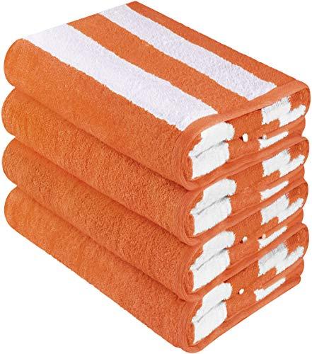 - Utopia Towels Cabana Stripe Beach Towels (4 Pack, 30 x 60 Inches) - Large Pool Towels, Orange