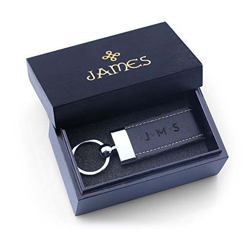 DG Personalized Black Leather Key Chain with Wood Box - Free Custom Engraving - Best Gift for Dad, Father, Boyfriend, Groomsmen]()