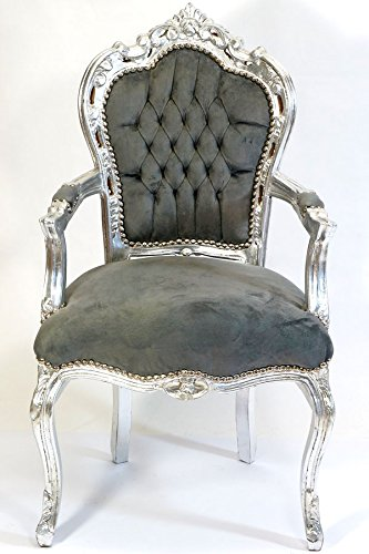 Barock Stuhl Massiv Holz Antik Stil Silber Grau Amazon De Kuche
