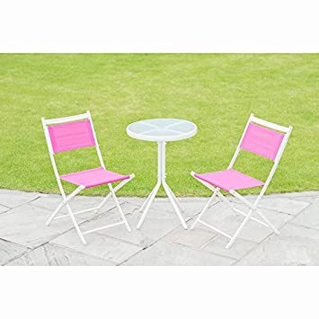 19480aea016d New Barcelona Bistro Set steel frame and texteline fabric Garden use - 3pc  - Pink: Amazon.co.uk: Garden & Outdoors