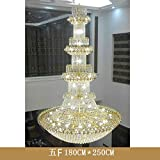 Duplex Floor Crystal Grand Chandelier European Villa Staircase Light Floor Middle Floor Living Room Large Chandelier Hotel Project Long Chandelier Long Pendant Lights Hanging Lamp ( Size : 5floors 180*250cm led )