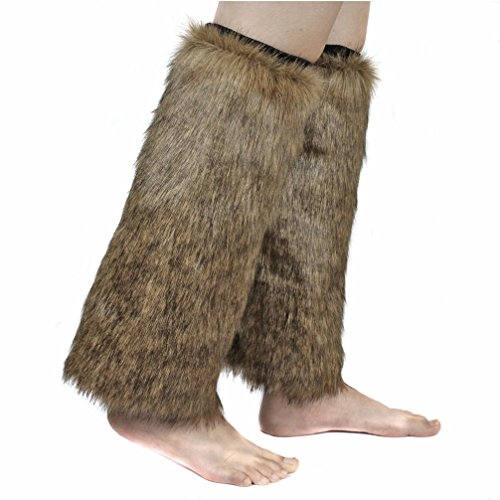 Brown Faux Fur Boots (ECOSCO One Pair Women Faux Wolf Fur FUZZY Boots Shoes Cuffs Leg Warmers)