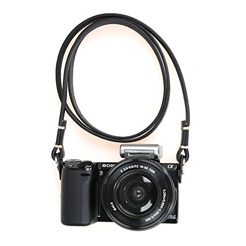 CANPIS Genuine Slim Leather Camera Neck Shoulder Strap for Fuji Sony Olympus Lecia, Vintage Leather Camera Strap (Black Color)