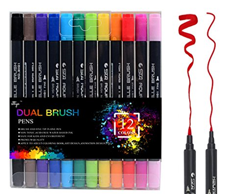 Dual Tip Brush Pens Art Markers, 12 Colors Fine Liner Brush Tip Double Colored Pens Set for Adult Coloring Books Bullet Journal Note Taking Drawing Planner Art Project by STTYE