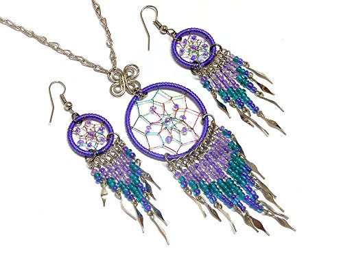 Mia Jewel Shop Dream Catcher Long Beaded Dangle Silver Chain Necklace and Earrings Jewelry Set (Beaded 3 Hole Link)