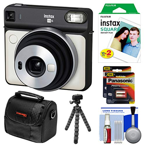 Fujifilm Instax Square SQ6 Instant Film Camera (Pearl White) with 20 Prints + Case + Tripod + Batteries - Pearl Camera Digital
