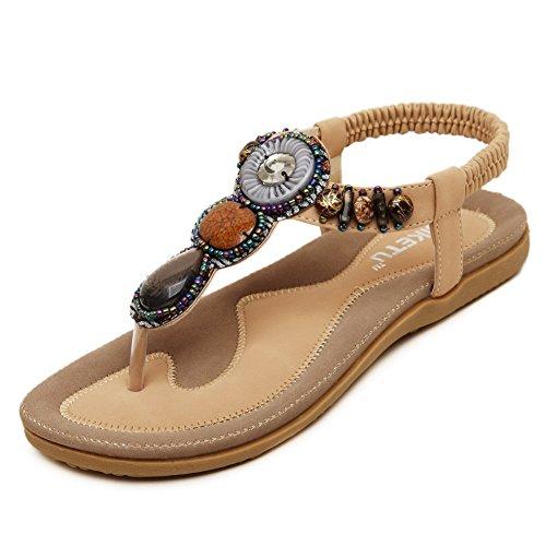 AllhqFashion Mujeres Sólido Cordón elástico Mini Tacón Sandalias y chanclas con Diamante Albaricoque