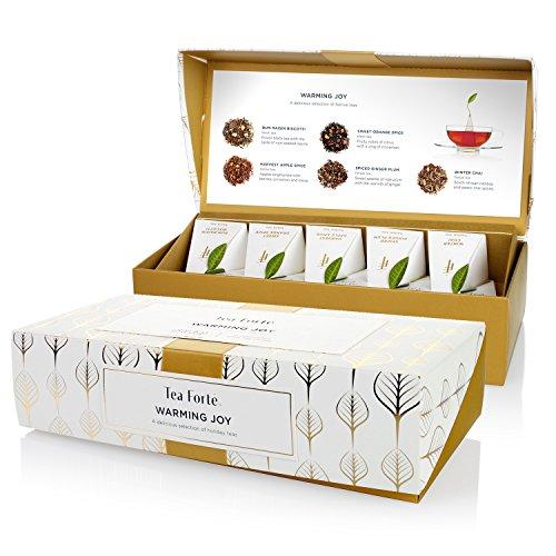 Tea Speciality Warming Joy Petite Presentation Box Featuring Seasonal & Festive Tea Blends - 10 Handcrafted Pyramid Tea Infusers