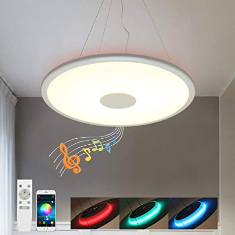 LED Lámpara de techo Lámpara Colgante Luz de Techo Iluminación decorativa con altavoz Bluetooth [Doble altavoz] inteligente 36W Ø50CM RGB 6500K 3000LM ...