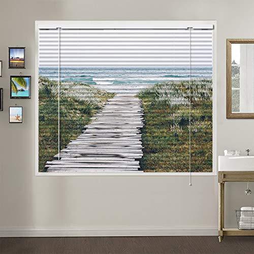 Patterned Aluminium Mini Window Blinds, Premium 1-inch Light Filtering Horizontal Custom Blinds, 58″ W x 48″ L