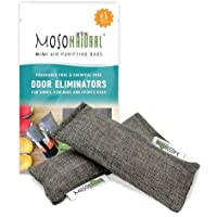 MOSO NATURAL Mini Air Purifying Bag 2 Pack Bamboo Charcoal Air Freshener, Deodorizer, Odor Eliminator, Odor Absorber