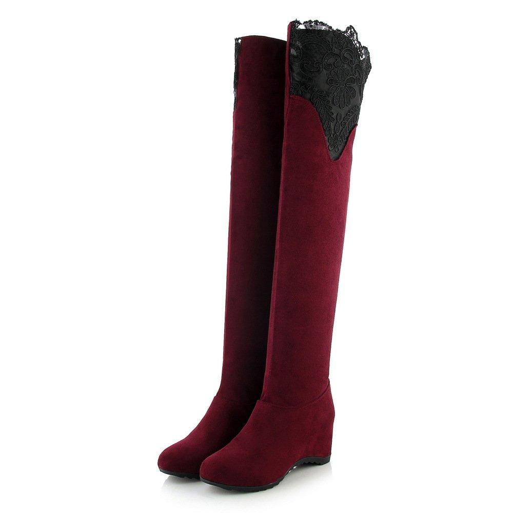 DYF Damenschuhe Stiefel Hohe Hohe Hohe barrel Spitze Poe elastische Farbe Warm Rot 42 bab349
