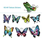 Temporary Tattoos Stickers 4D AR, SUSUN Waterproof Creative Dynamic Augmented Reality Tattoo Stickers Paste Durable Fantastic Tattoos for girls boys toys gift (Butterfly)