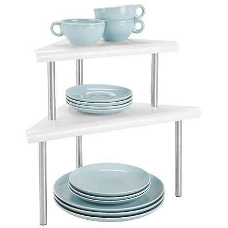 mDesign Estantería esquinera con 2 niveles – Baldas de cocina para rincones de encimeras e interiores de armarios – Estantes de metal y acero con 2 ...