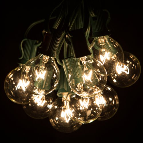 100 Foot G40 Globe Patio String Lights with Clear Bulbs for Outdoor String Lighting (Green Wire) (Cheap Bistro Set)