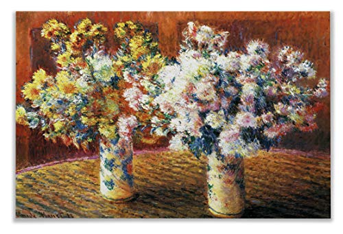 Monet Wall Art Collection Two Vases with Chrysanthems, 1888 by Claude Monet Canvas Prints Wrapped Gallery Wall Art | Stretched and Framed Ready to Hang - Canvas 1888 Stretched
