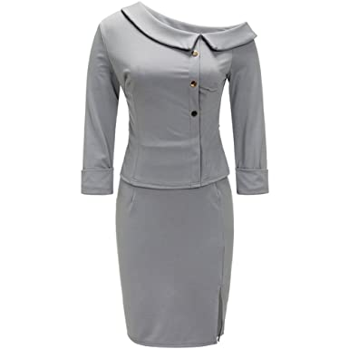 Bodycon4u Womens Business Dress 2 Piece Suit 3 4 Sleeve Doll Collar