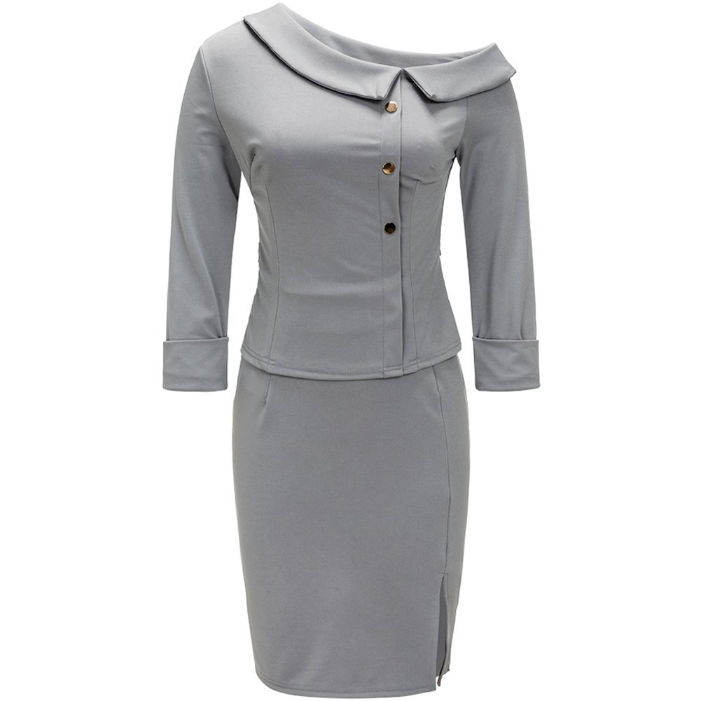 Bodycon4U Womens Business Dress 2 Piece Suit 3/4 Sleeve Doll Collar Peplum Top Bodycon Skirt Gray 2XL