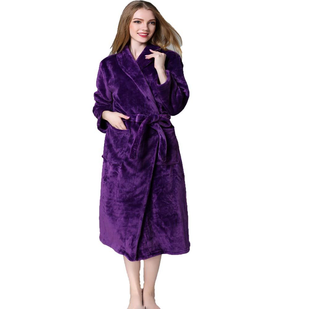 BERTHACC Pijamas De Terciopelo con Capucha para con Capucha Bata De Ba/ño para Mujer Vestido Largo para Mujer Vestido De Polar Albornoz Ropa De Dormir,P/úrpura,M