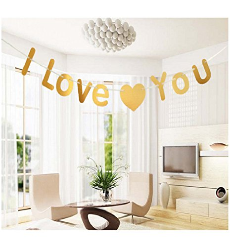 Mikey Store Celebrations Letters Garland Decoration Wedding Birthday Banquet Decoration Flag (Gold)