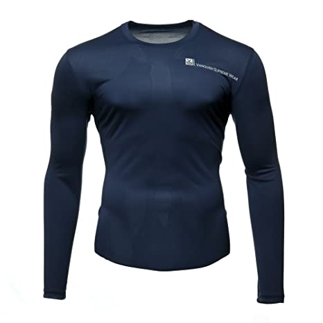 94c043fd25e2 Fusion VS Wear Men's Microfiber Slim Fit Compression Long Sleeve Athletic  Sport Performance Training Thermal Baselayer Tactical Crew Shirt Made in  USA Large
