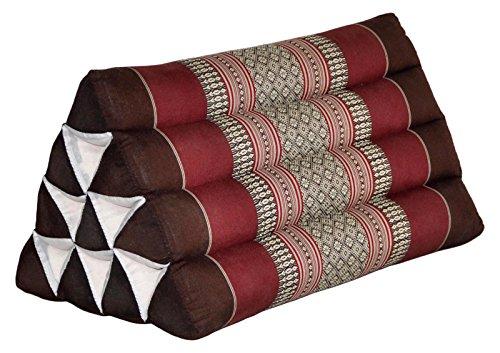 Thai triangular cushion, brown/burgundy, relaxation, beach, kapok, made in Thailand. (82500) by Wilai GmbH