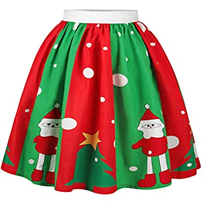 Bodycon4U Women's Girl's Junior's Christmas Printed Elastic Pleated Party Flared Mini Skater Skirt