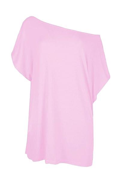 5779bc59 janisramone Womens Ladies New Plain Off The Shoulder Batwing Sleeve Bardot Baggy  Oversized T-Shirt Tee Top: Amazon.co.uk: Clothing