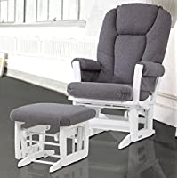 Dutailier Modern Glider with Multiposition, Recline and Ottoman Combo, White/Dark Grey