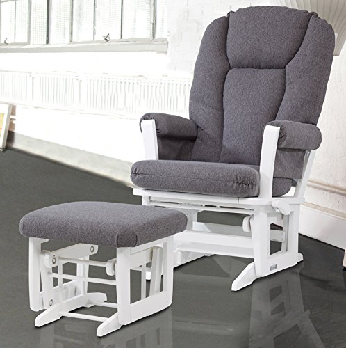Dutailier Modern Glider with Multiposition, Recline and Ottoman Combo, White/Dark (Dutailier Modern Glider)