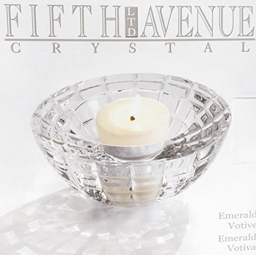 - 5th Avenue Collection Crystal Emerald Round Votive Candle Holder