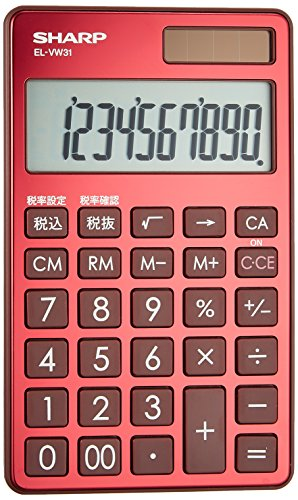 Sharp notebook type calculator luxury mirror surface aluminum panel adopted Red system a sense of ()