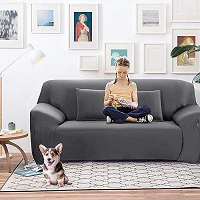 SearchI Funda elástica para sofá de 3 plazas, Cubierta Antideslizante en Tejido elástico Extensible, Protector del sofá, Color Gris,Café Claro,Medida ...