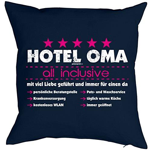 bedrucktes lustiges Fun Sofa Kissen: Hotel Oma witziges Geschenk Dekokissen Couchkissen Sofakissen Geburtstag Weihnachten Ostern