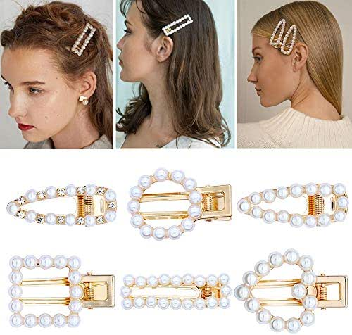 6 Pcs Pearl Hair Clips Artificial Pearl Alligator Hair Barrettes Fashion Shape of Love Geometric Gold Metal Hair Clips for Women and Ladies Female Hair Accessories