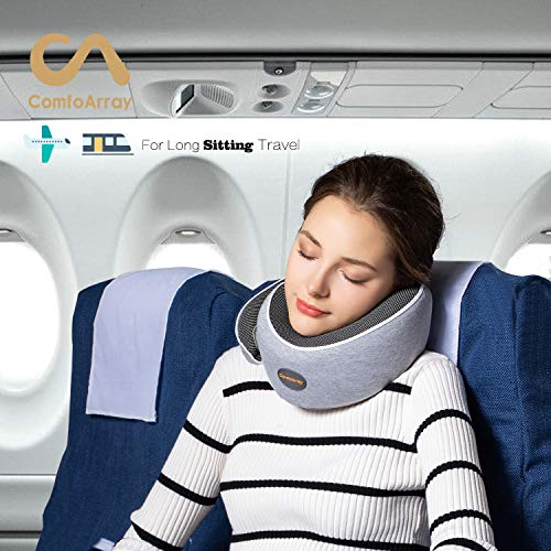 ComfoArray Head Support Travel Pillow- More Supportive Design, Travel Pillow for Airplane Travel, 100% Memory Foam, Adjustable According to Neck Size. with Earplugs and Sleep Mask.