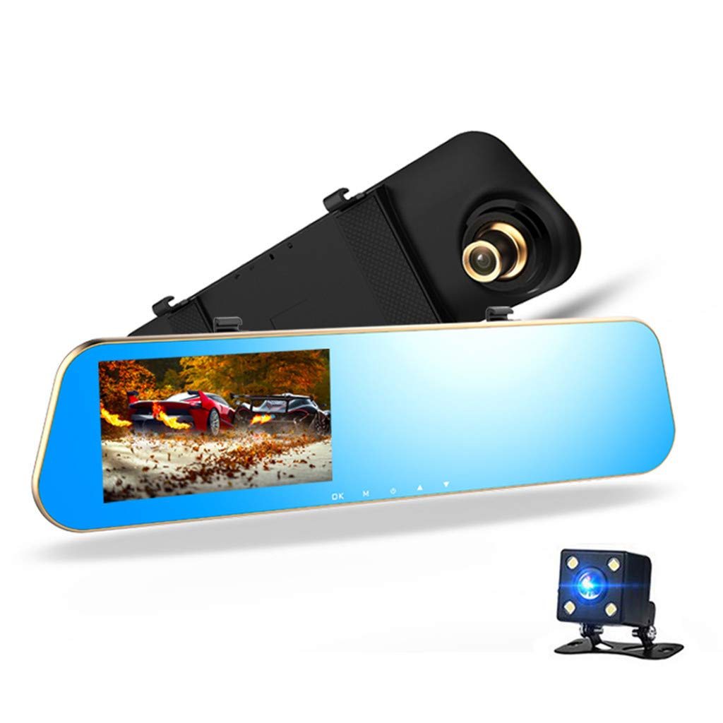 Fullwei G-Sensor Mirror Dash Cam, 4.3'' Car DVR HD 1080P Dual Lens Mirror Dash Cam Recorder with Waterproof Reversing Camera, Night Vision Loop Video for Any Vehicle (Quelima)