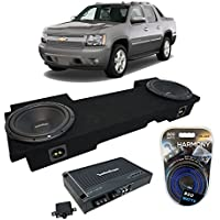 2002-2013 Chevy Avalanche Underseat Rockford Prime R1S410 Dual 10 Sub Box Enclosure & R250X1 Amp