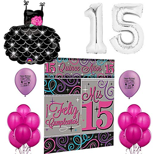 Mis Quince Anos Party Supplies Sweet 15 Pink and Black Elegant Balloon Room Decoration Set ()
