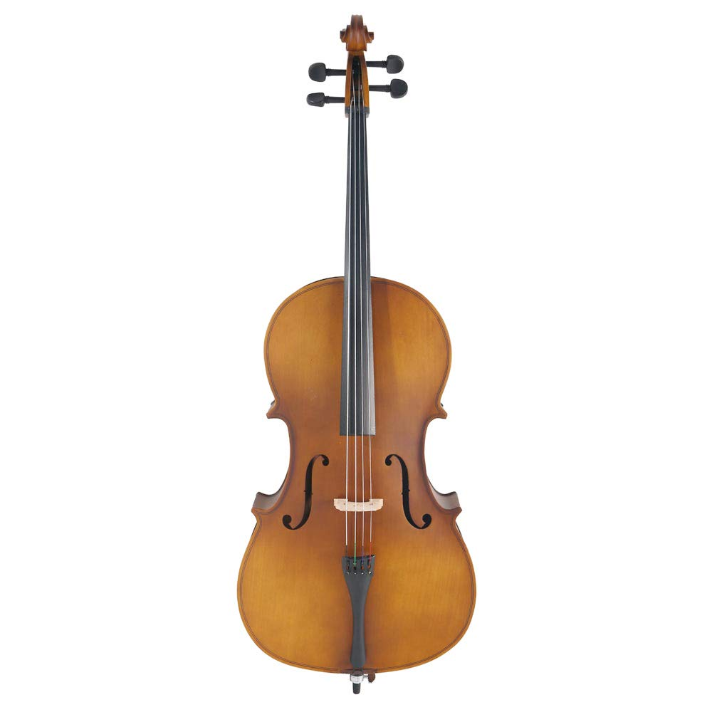 4/4 Acoustic Cello + Case + Bow + Rosin Wood Color Beautiful Varnish Finishing (Matte Golden)