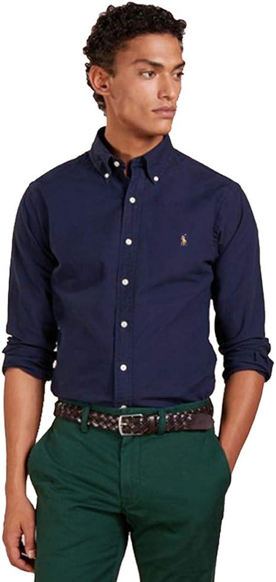 Ralph Lauren Camisa Oxford Slim Fit (S, Newport Navy): Amazon.es: Ropa y accesorios