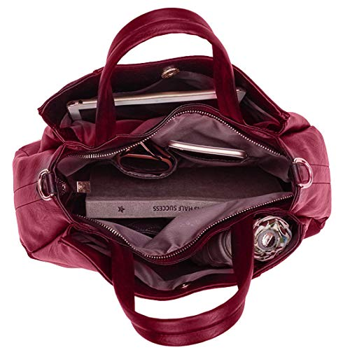 Shoulder Ladies Hobo Handbag Bag Leather Handle PURPLE Crossbody Tote Vegan RELIC Soft ~ Red Top 4wUwgxqv