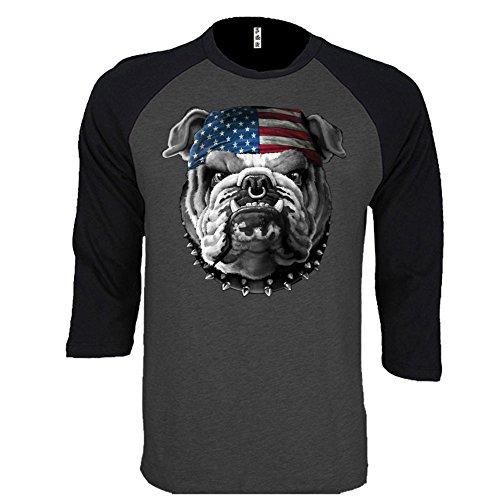 Bulldog Baseball Jersey - American Bulldog Graphic Baseball Tee 3/4 Sleeve Raglan Jersey