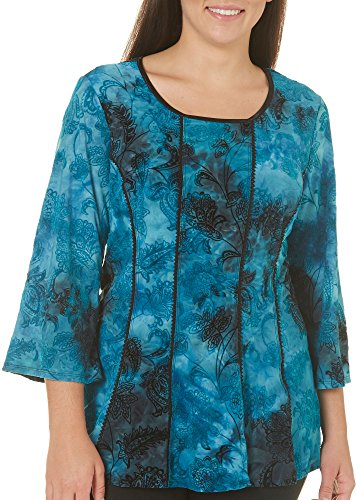 Sami & Jo Plus Paisley Panel Top 1X Teal Blue/Black