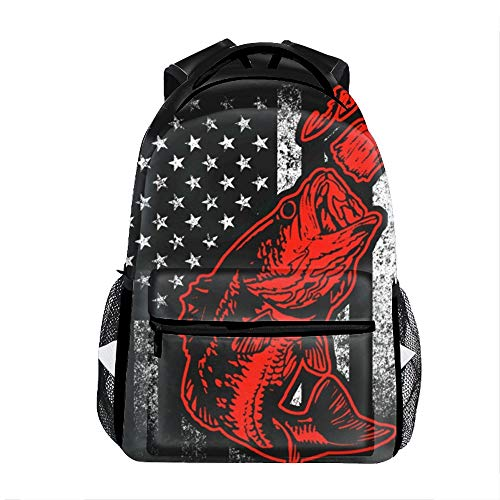 (Bass Fishing Lure And American Flag Casual Backpack Bag, Fashion Lightweight Backpacks for Teen Young)