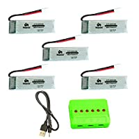Noiposi 3.7v 720mah 25c Lipo Battery 5 PCS with X6 Charger for X708 X708W UFO 3000 Halo 3000 Halo Quadcopter Drone JJRC H42 U45 U45W Blue Jay Syma X5 X5c X5C-1 X5SW X5SC JXD UFO 398 Haktoys HAK905 from fly kool